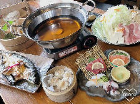 まんぷく厨房ちゃらりんの「北海道縞ホッケと九州もつ鍋のコース」の画像